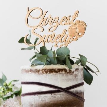 TOPPER na tort Chrzest Święty DREWNIANY