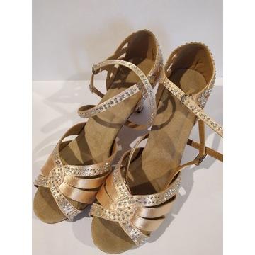 Nowe buty taneczne z cyrkoniami r. 40 obcas 6 cm