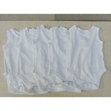 5x białe body bez rękawów 68