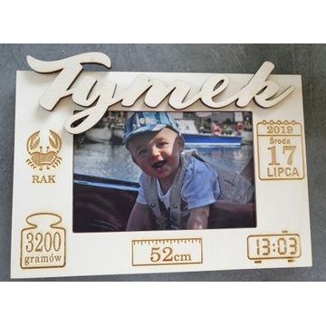 Ramka na zdjęcie dziecka metryczka grawer Imię 3D