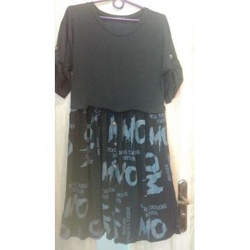 Zwiewna sukienka literki, sportowo-elegancka, XL