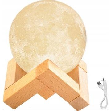 Świecący Księżyc 3D Lampka Nocna Lampa Moon Light