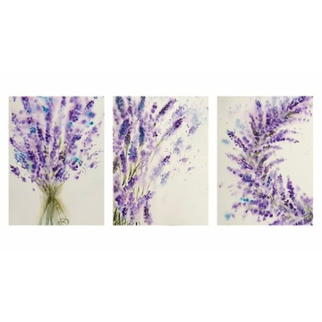 Tryptyk Akwarela ręcznie malowana lawenda, kwiaty
