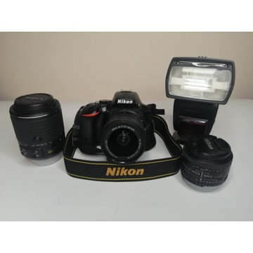 NIKON D5500 + 3 obiektywy + lampa (niski przebieg)