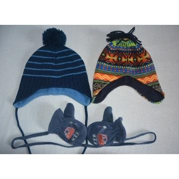 Zestaw czapek z rękawiczkami dla chłopca r.86/92