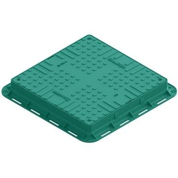 Właz kwadratowy plastikowy - zielony kl.A15