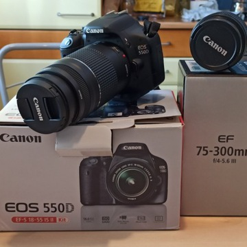 Canon EOS 550D + EF-S 18-55 IS II + EF 75-300 STA