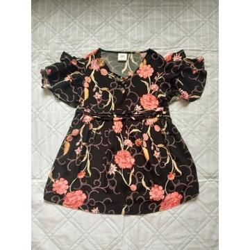 Bluzka ciążowa czarna w kwiaty XS/S