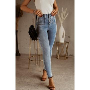 Spodnie dżinsowe wysoki stan ćwieki roz M 38