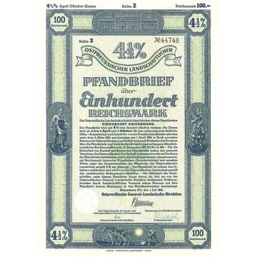 Obligacja na 100 RM - Królewiec