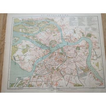 Stary plan miasta St-Petersburg 1899r antyk.