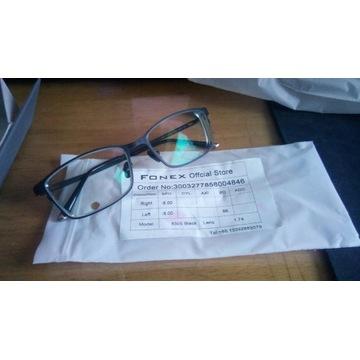 Okulary korekcyjne -8, oprawki tytanowe czarne