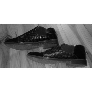 Buty oksfordy z pikowaniem skórzane 39