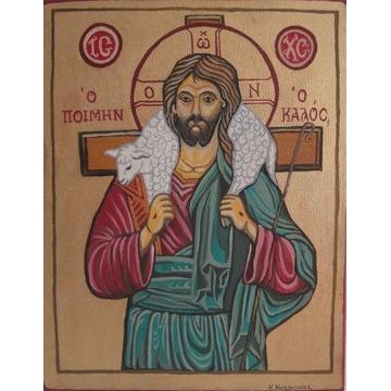 obraz olejny Jezus Chrystus dobry pasterz / ikona