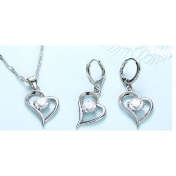 Komplet biżuterii srebrny 925 Serduszka