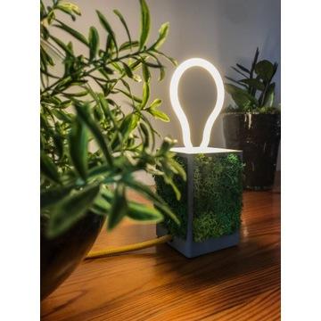 Lampka stołowa z mchem Green Cube