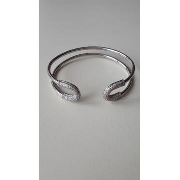 Apart srebrna bransoletka z cyrkoniami sztywna