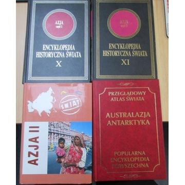 4 książki Encyklopedia Azja Antarktyka M. Dziekan