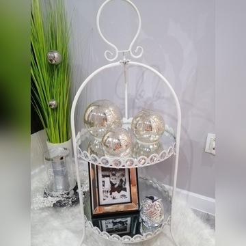 Etażerka lustrzana dwupoziomowa dekoracyjna biała