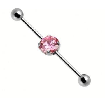 Piękny kolczyk industrial srebrny kryształ