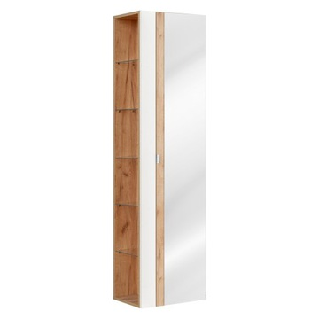 CAPRI WHITE 803 - Szafka wysoka z lustrem 45cm 1D