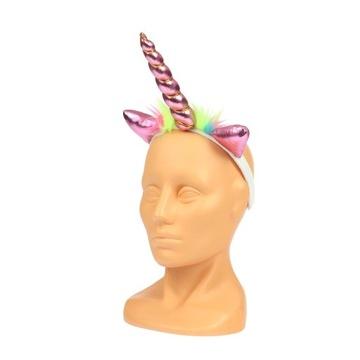 Różowa OPASKA RÓG JEDNOROŻCA jednorożec unicorn