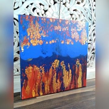 Obraz abstrakcyjny Rafa pouring 50 x 50 cm