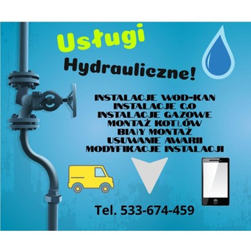 Hydraulik. Usługi hydrauliczne/instalacje wod-kan,