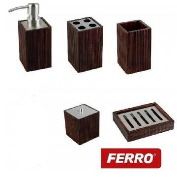 Zestaw łazienkowy FERRO WENGE DREWNO 5 ELEMENTÓW