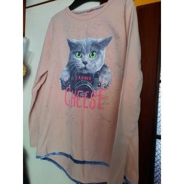 bluzka z kotem długi rękaw 140-146