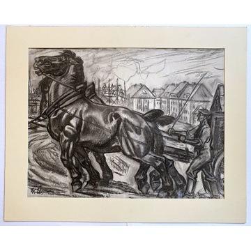 Zaprzęg, XX wiek, sygnowany, konie
