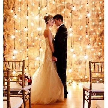Kurtyna świetlna LED ścianka na wesele ślub lampki