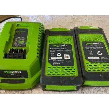 Ładowarka i 2 baterie litowo- jonowe Greenworks