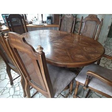 Stary, owalny, rozkładany, solidny, drewniany stół
