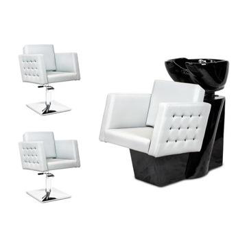 2 x Fotel Fryzjerski + Myjnia Fryzjerska CRISTAL