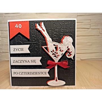 Kartka na 40-tkę ręcznie wykonana 40 urodziny