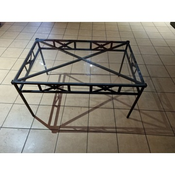 Stół stalowy ze szklanym blatem