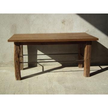 Ława drewniana, dębowa z rustykalnymi nogami