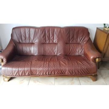 Komplet wypoczynkowy skórzany sofa + dwa fotele