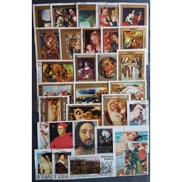 Zestaw znaczków kasowanych [ ], malarstwo, świat.