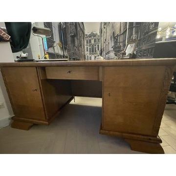 Piękne, przedwojenne, dębowe biurko