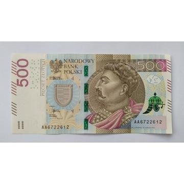 Banknot 500 zł seria AA  2016r UNC