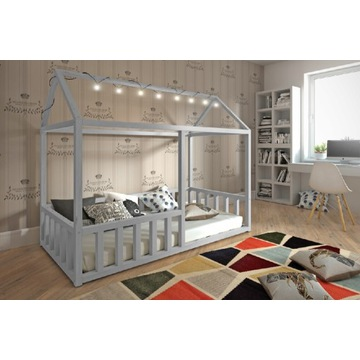 Łóżko parterowe domek z barierką, materwc gratis