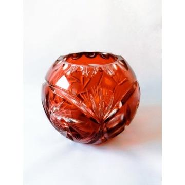 Wazon kula czerwona kryształowa prl vintage