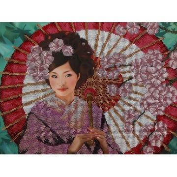 Obraz recznie haftowany, haft koralikowy - Japonka