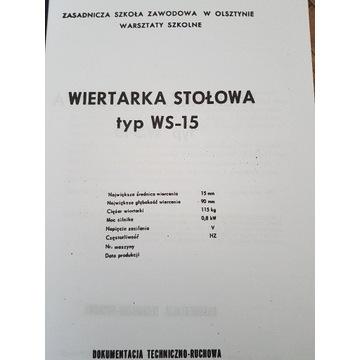 Dokumentacja remontowa DTR Wiertarka WS 15