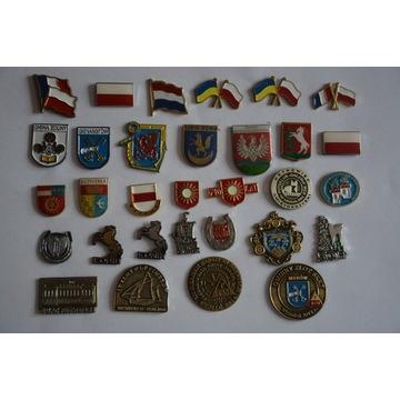 Odznaki miast, flagi, sportowe, szkolne i inne kpl