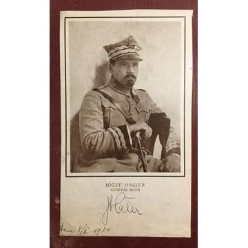 Generał Józef Haller podpis autograf Piłsudski