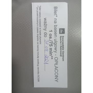 Bilety na basen Swarzędz 75 min/10 zł
