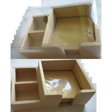 pudełko drewniane na karteczki kartki ekologiczne